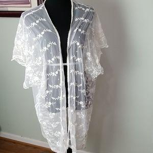Sexy lace sheer embroidered kimono